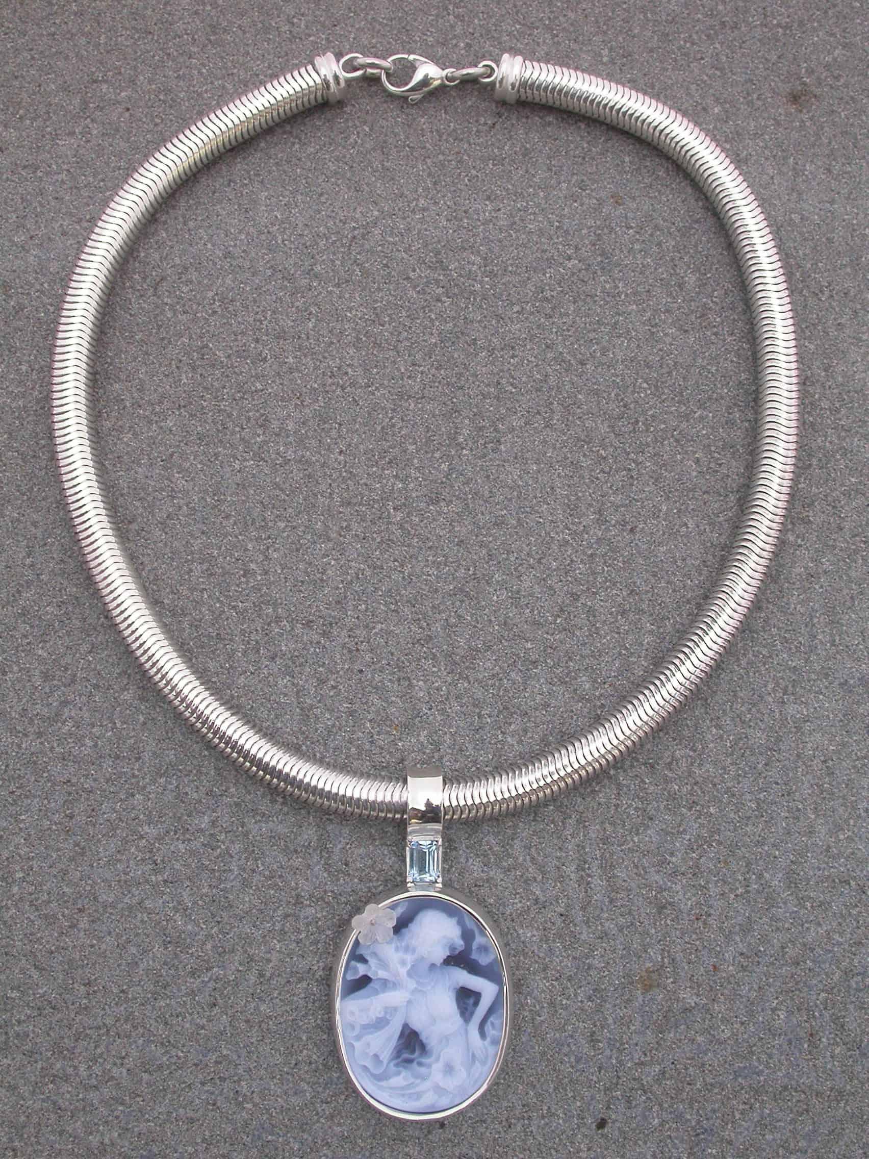 Unique necklaces, onyx, aquamarine, sterling silver