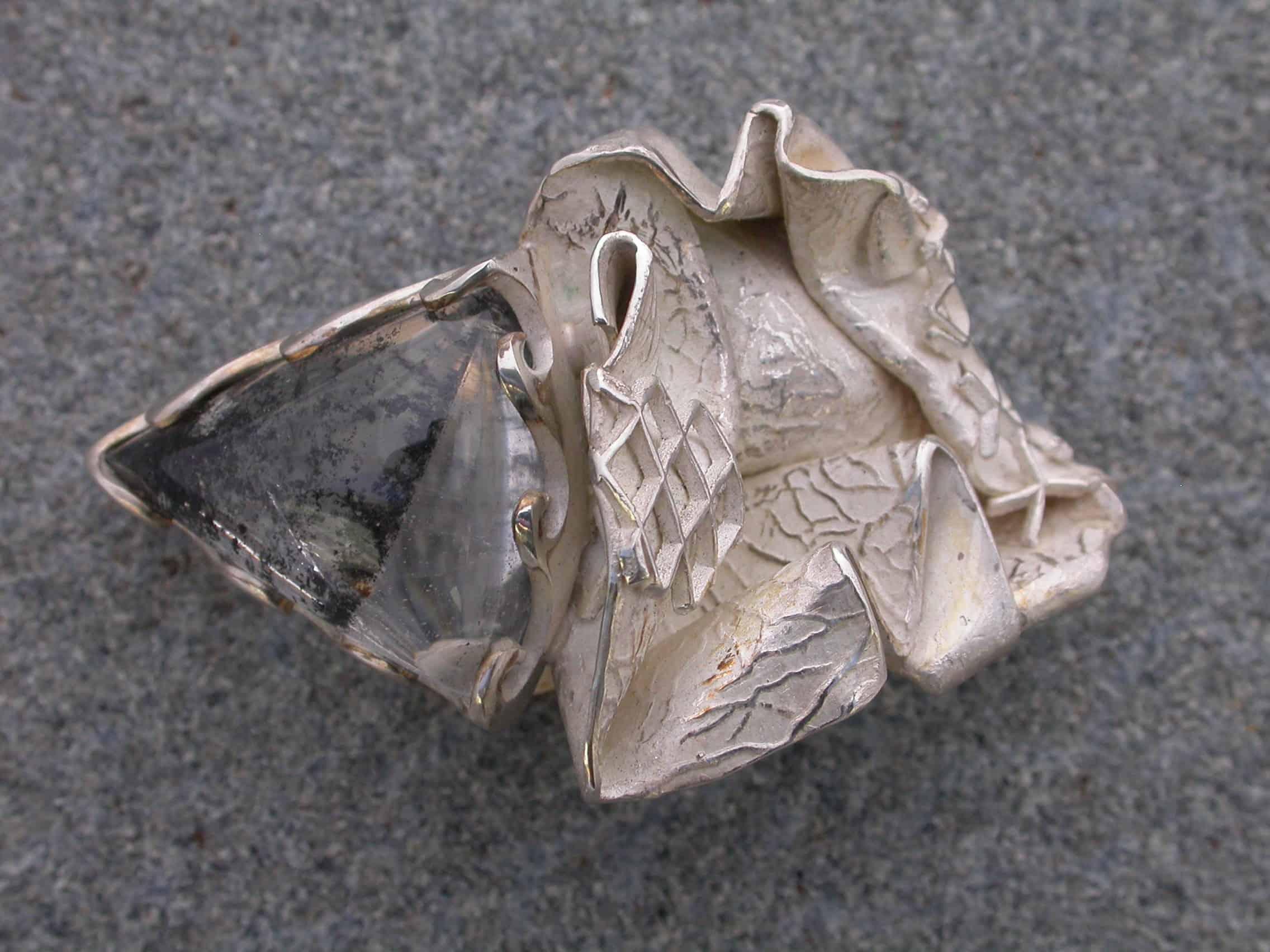 Unique brooch, artwork quartz, sterling silver