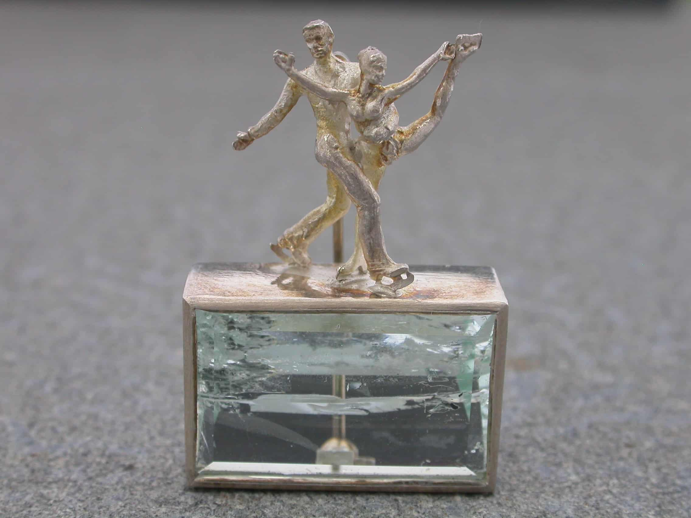 Unique brooch, dancer on the ice, aquamarine, sterling silver