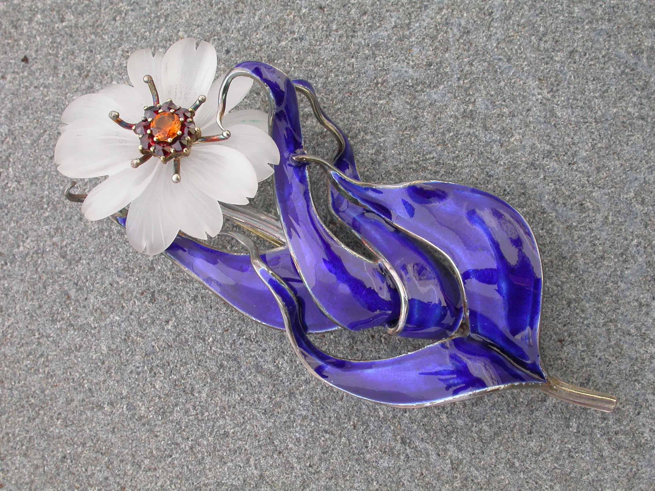 Unique brooch, flower, quartz, citrine, sterling silver, enamelled