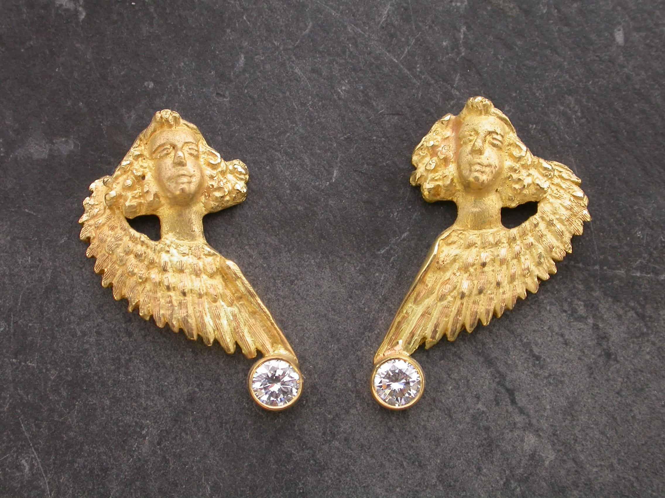 Unique earrings angel, 18ct gold, diamonds