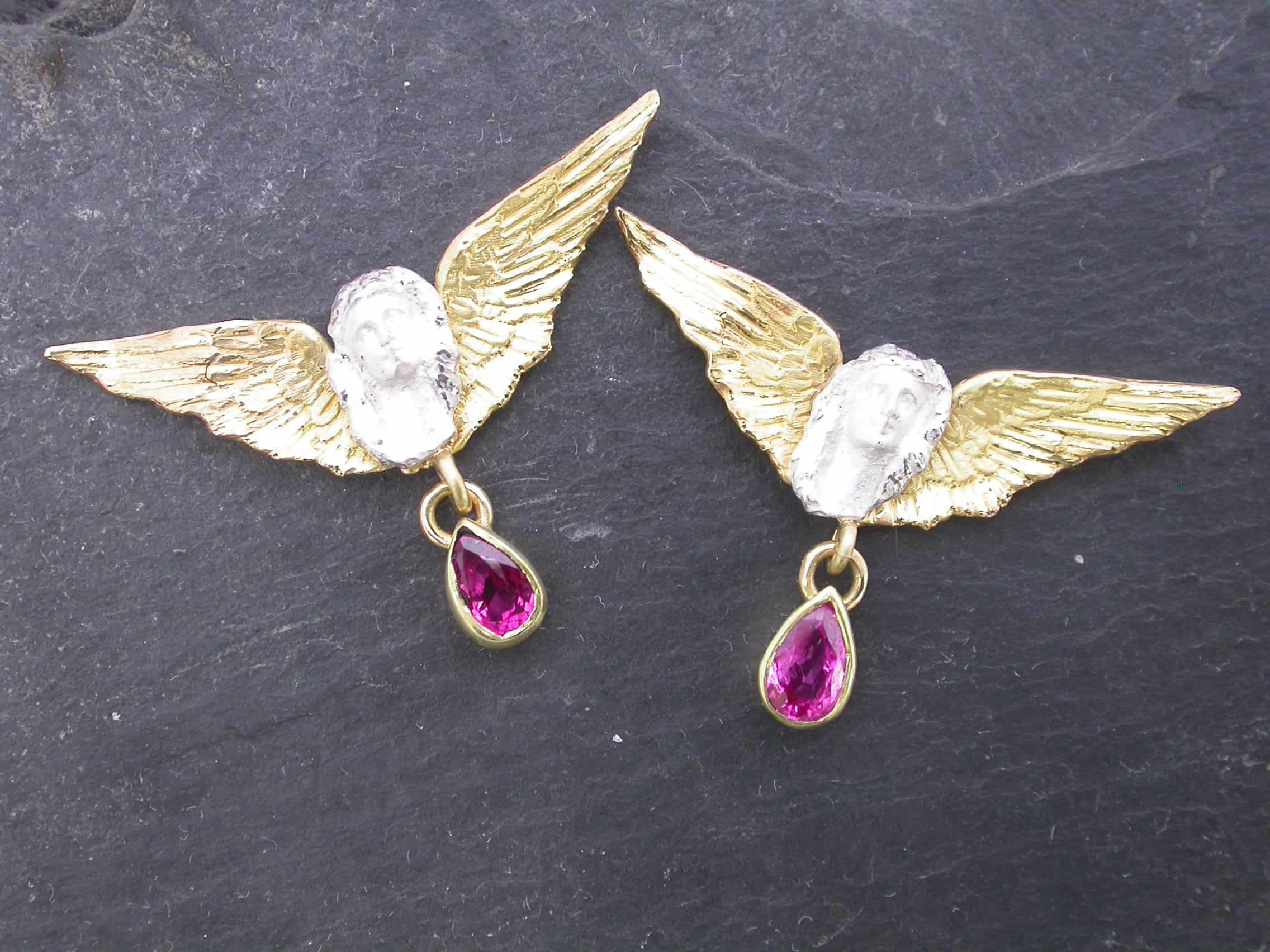 Unique earrings angel, ruby, 18ct gold, sterling silver