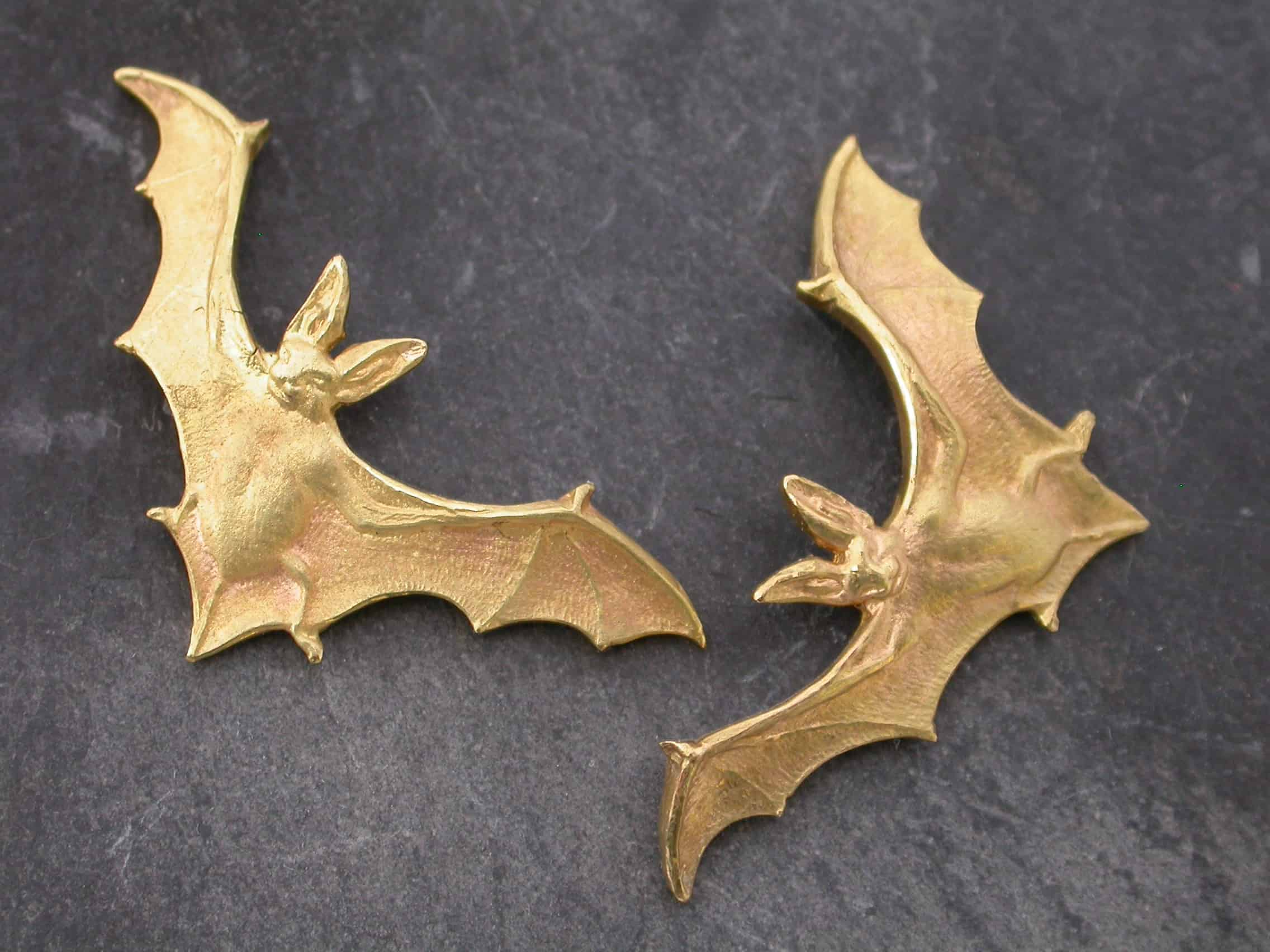 Unique earrings bat, 18ct gold