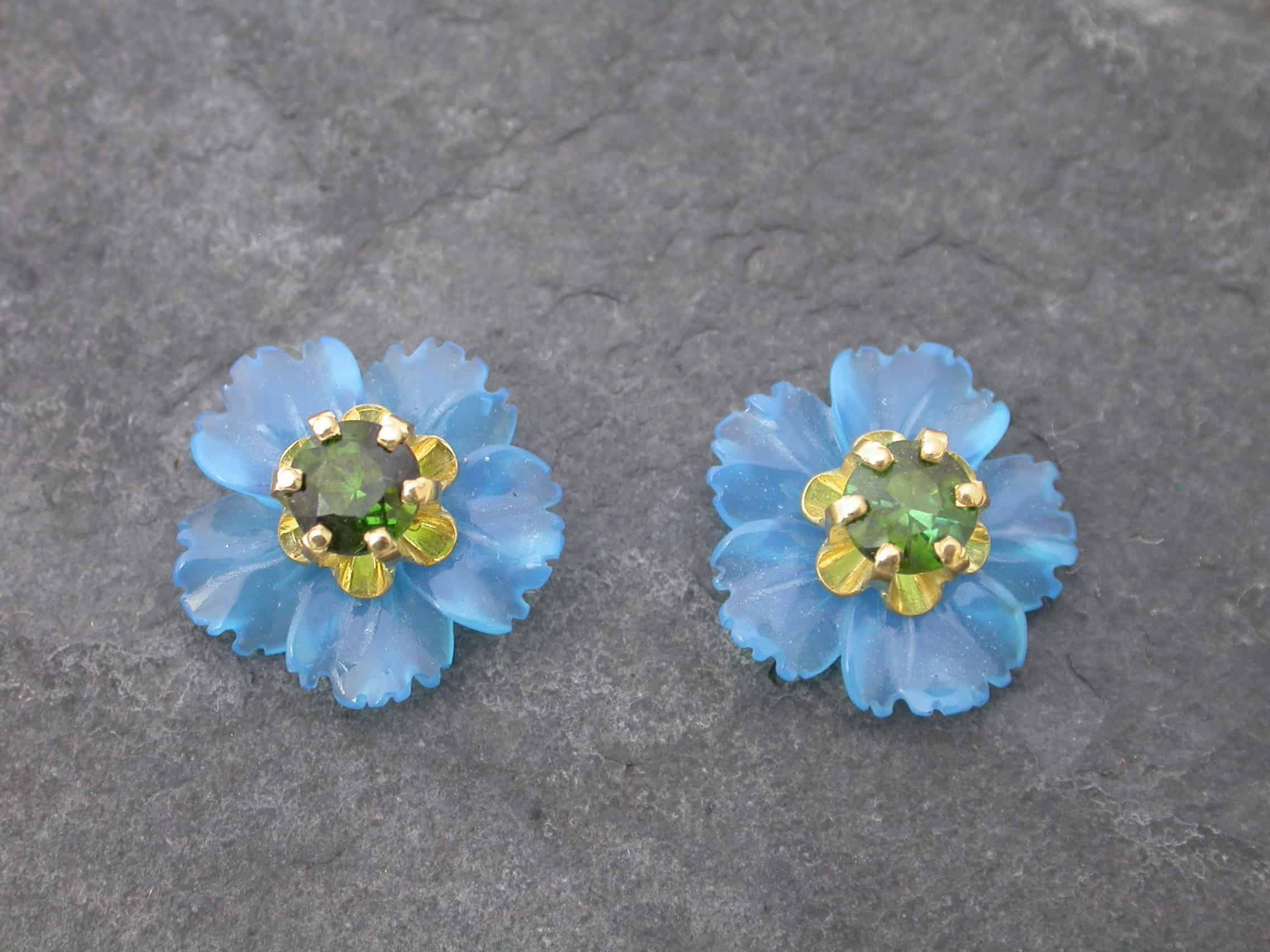 Unique earrings flower, agate, tourmaline, 18ct gold