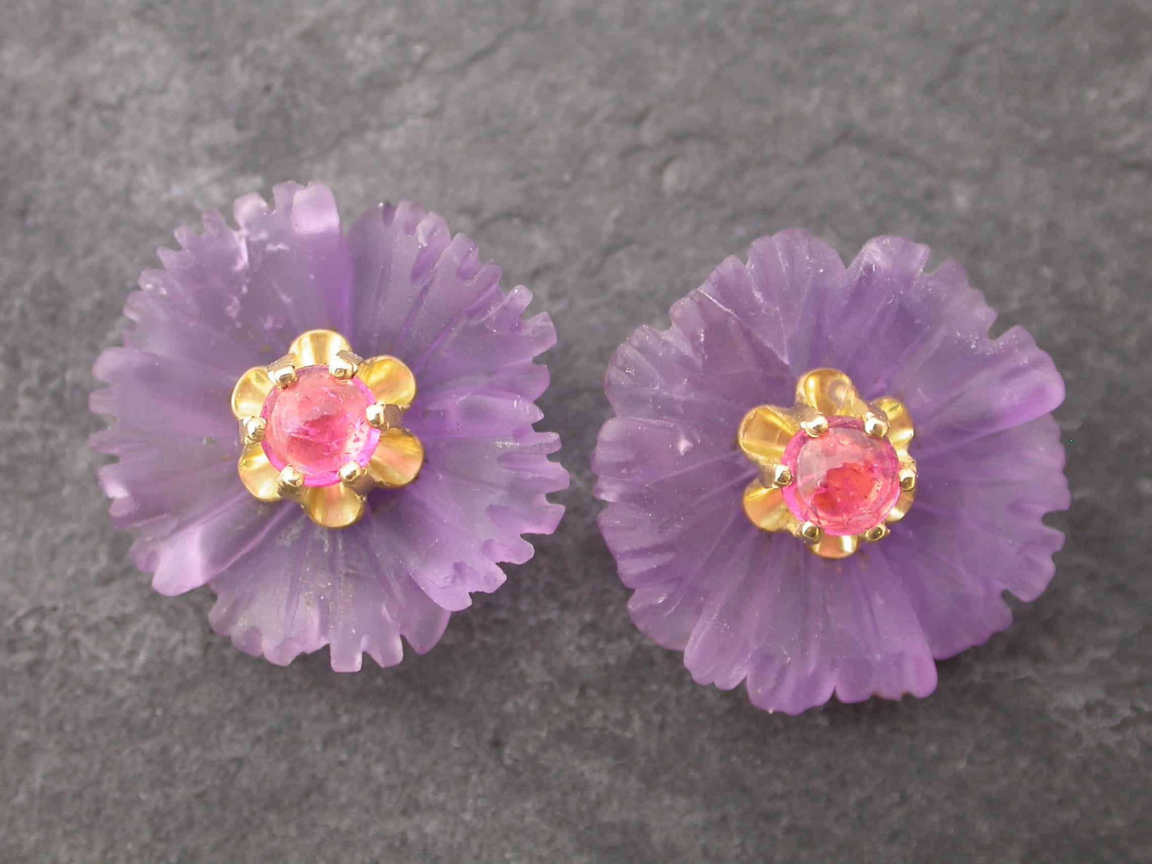 Unique earrings flower, amethyst, tourmaline, 18ct gold