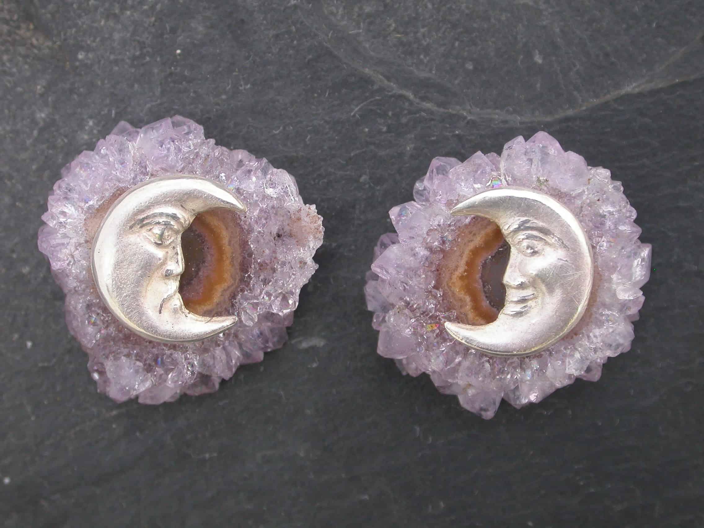 Unique earrings moon, amethyst, sterling silver