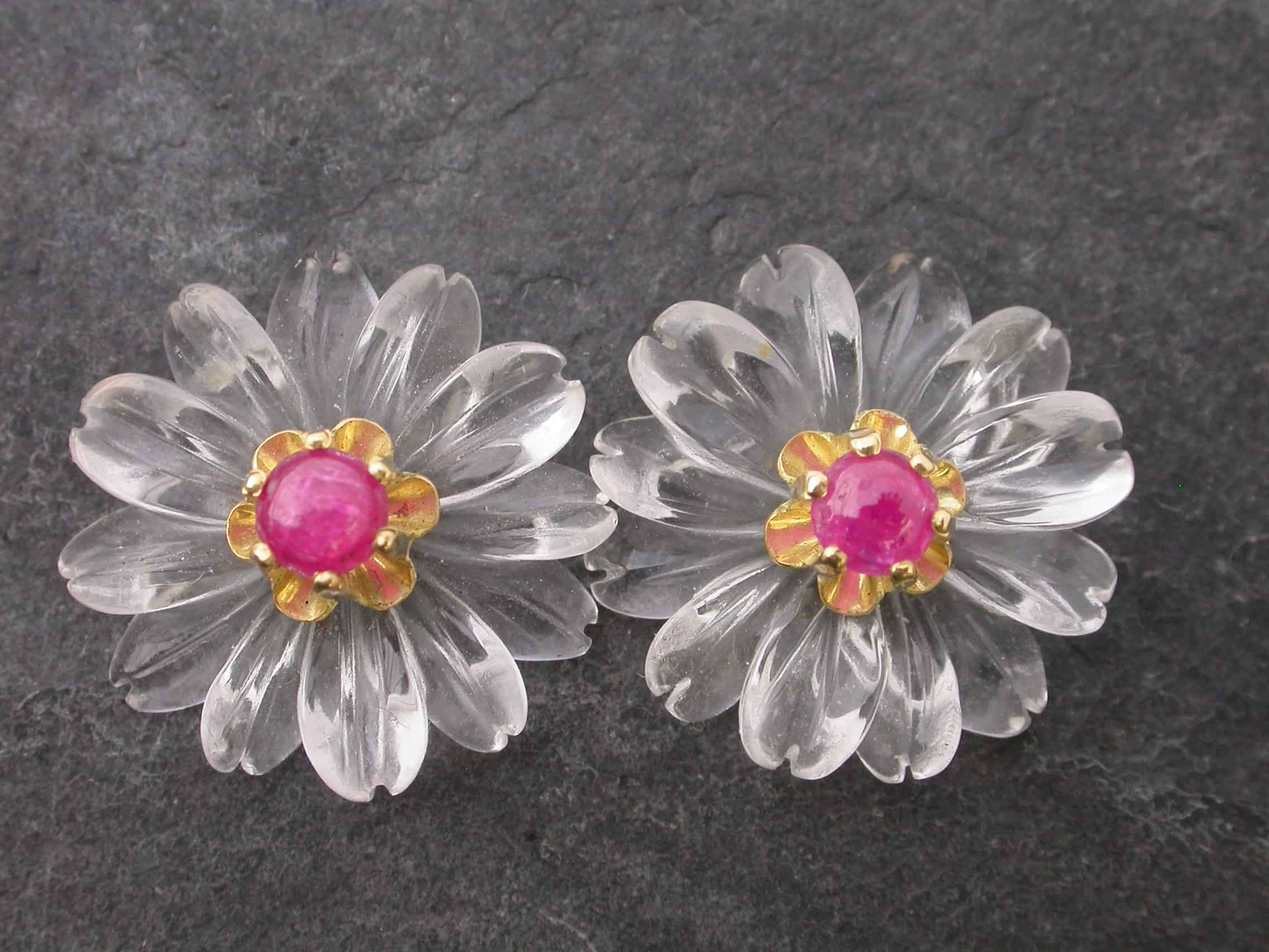 Unique earrings slug, garnet, sterling silver, 18ct gold