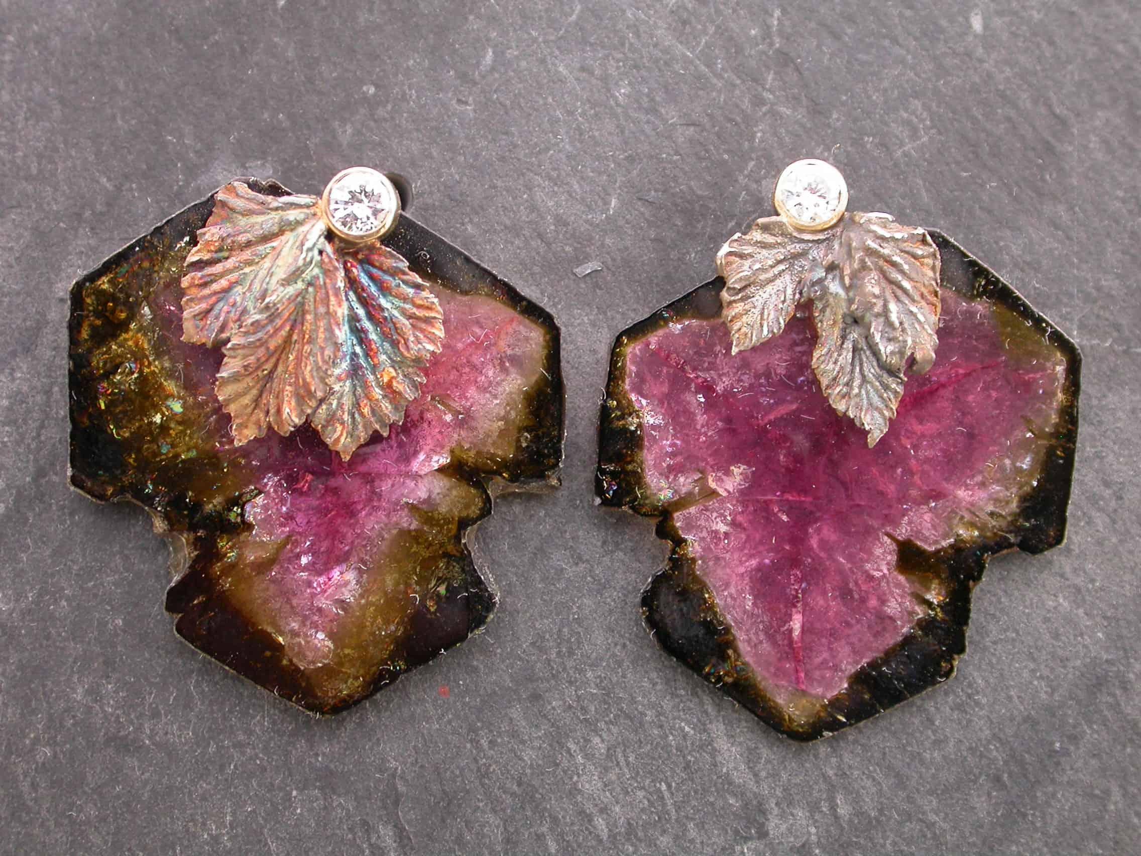 Unique earrings, tourmaline, diamonds, 18ct gold, sterling silver