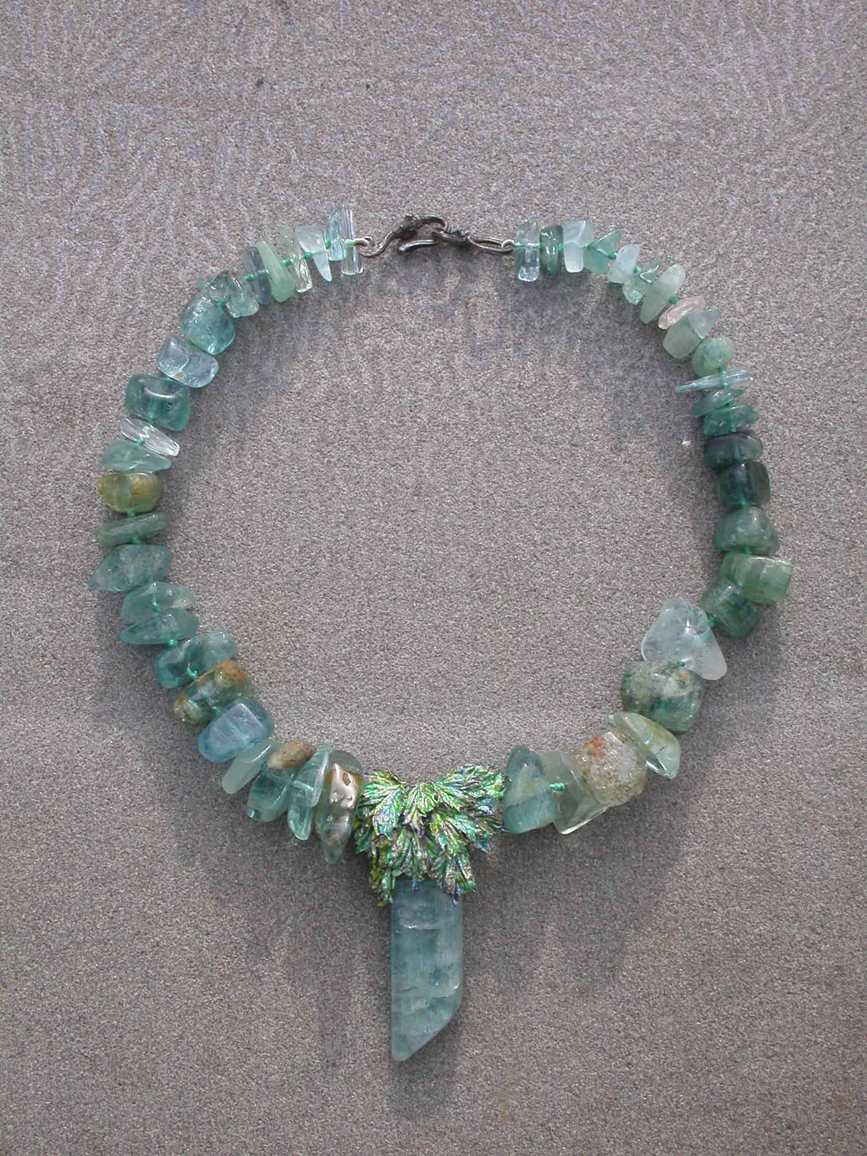 Unique necklaces, aquamarine, sterling silver, enamelled 2
