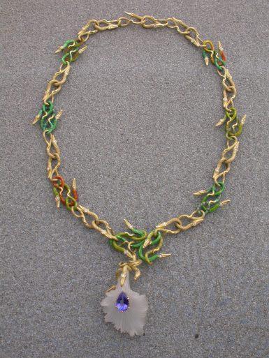 Unique necklaces flower snakes , quartz, tanzanite, diamonds, 18k gold, enamelled