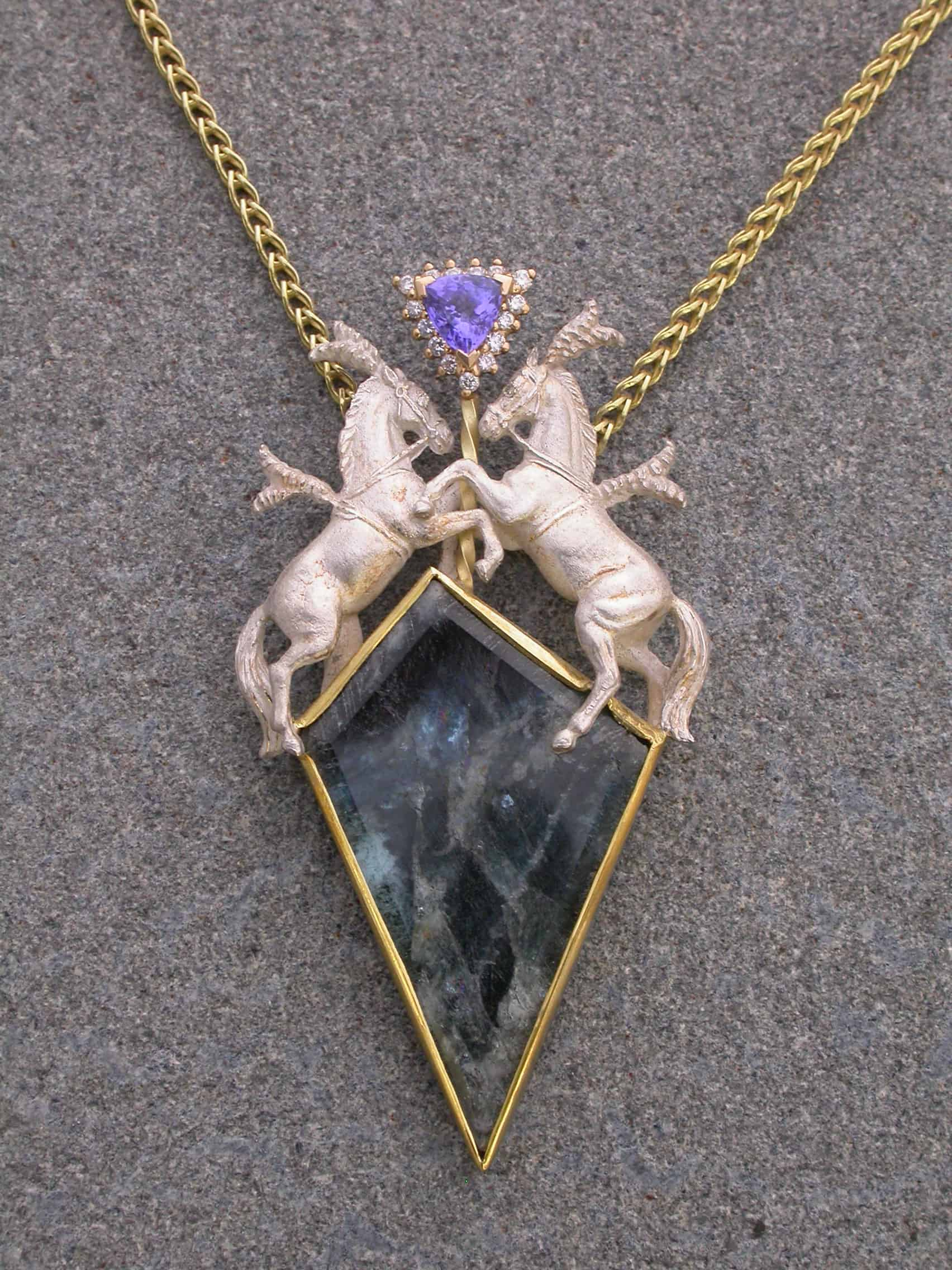 Unique necklaces horses, aquamarine , tanzanite, diamonds, 18k gold, sterling silver