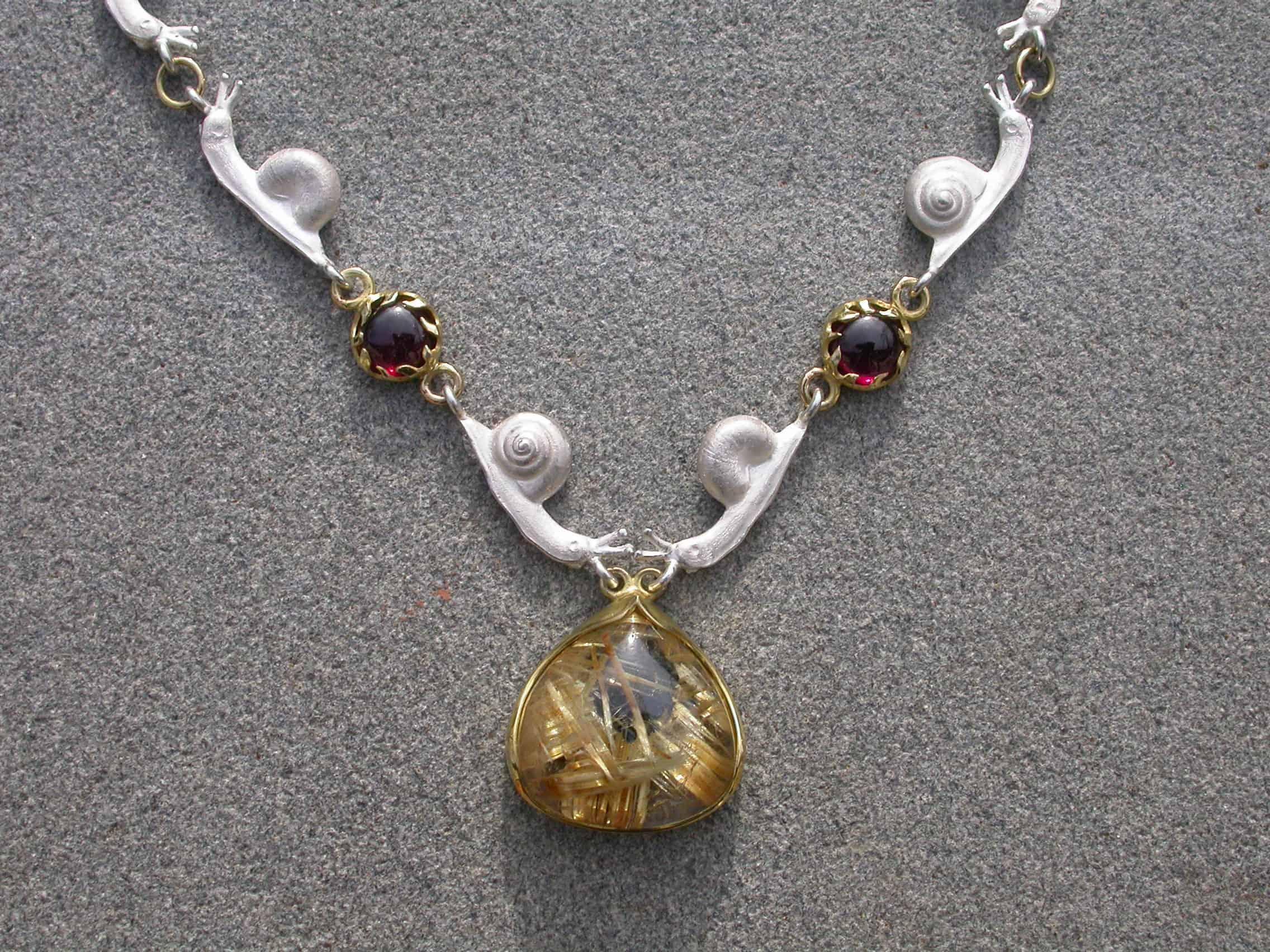 Unique necklaces slugs, quartz with rutile, garnet 18k gold, sterling silver
