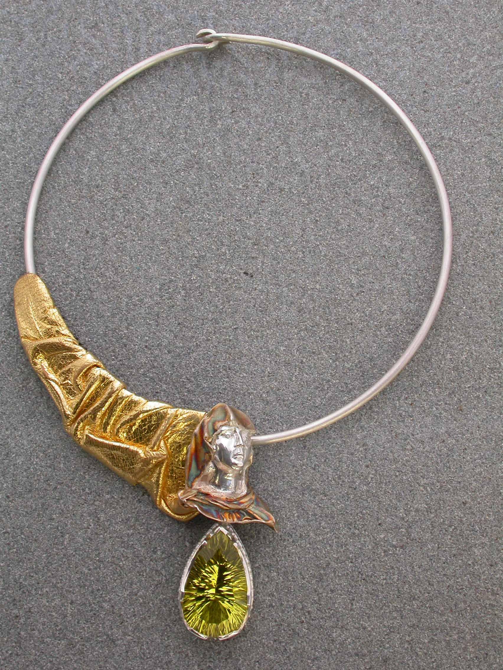 Unique necklaces urška, sterling silver, lemon citrine, leather gilded