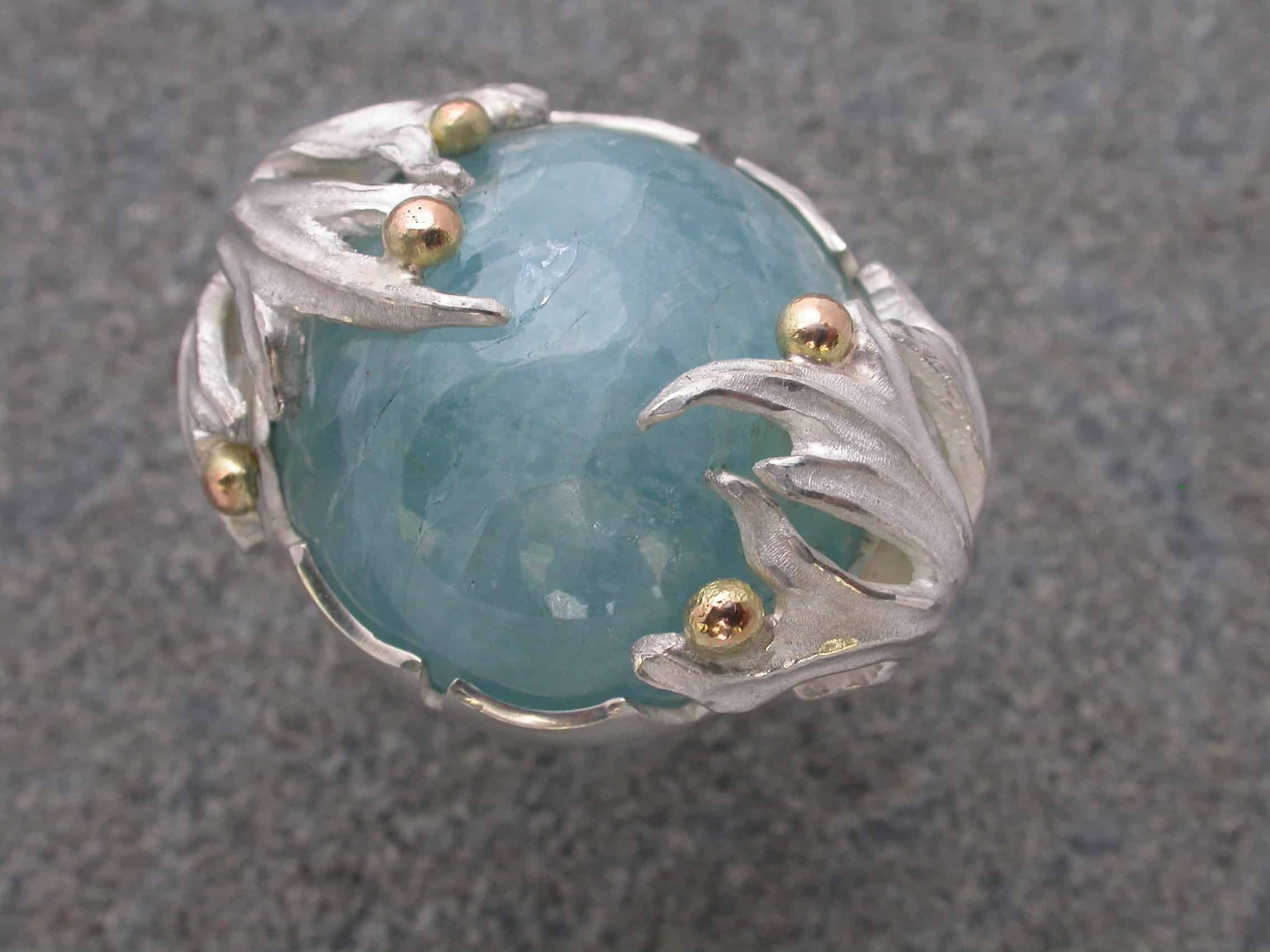 Unique ring aquamarine, sterling silver, 18ct gold