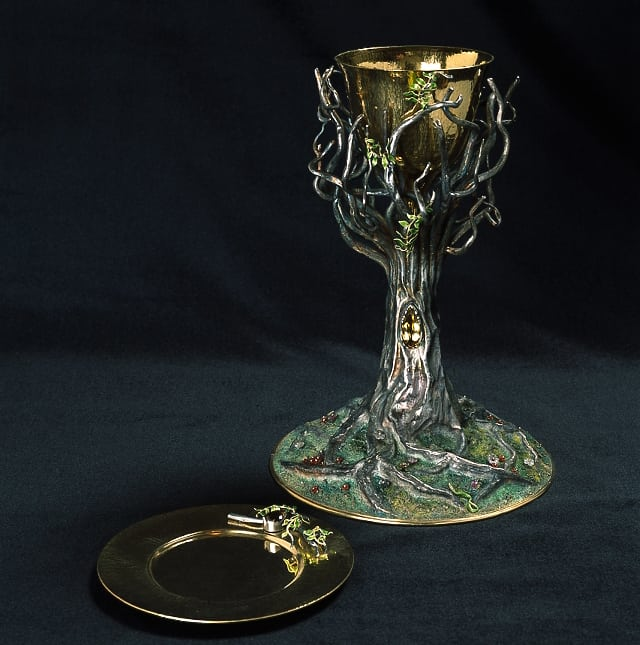 Unique chalice the tree of life, Slovenian church, sterling, partly gilded, enamelled, quartz, 18ct gold