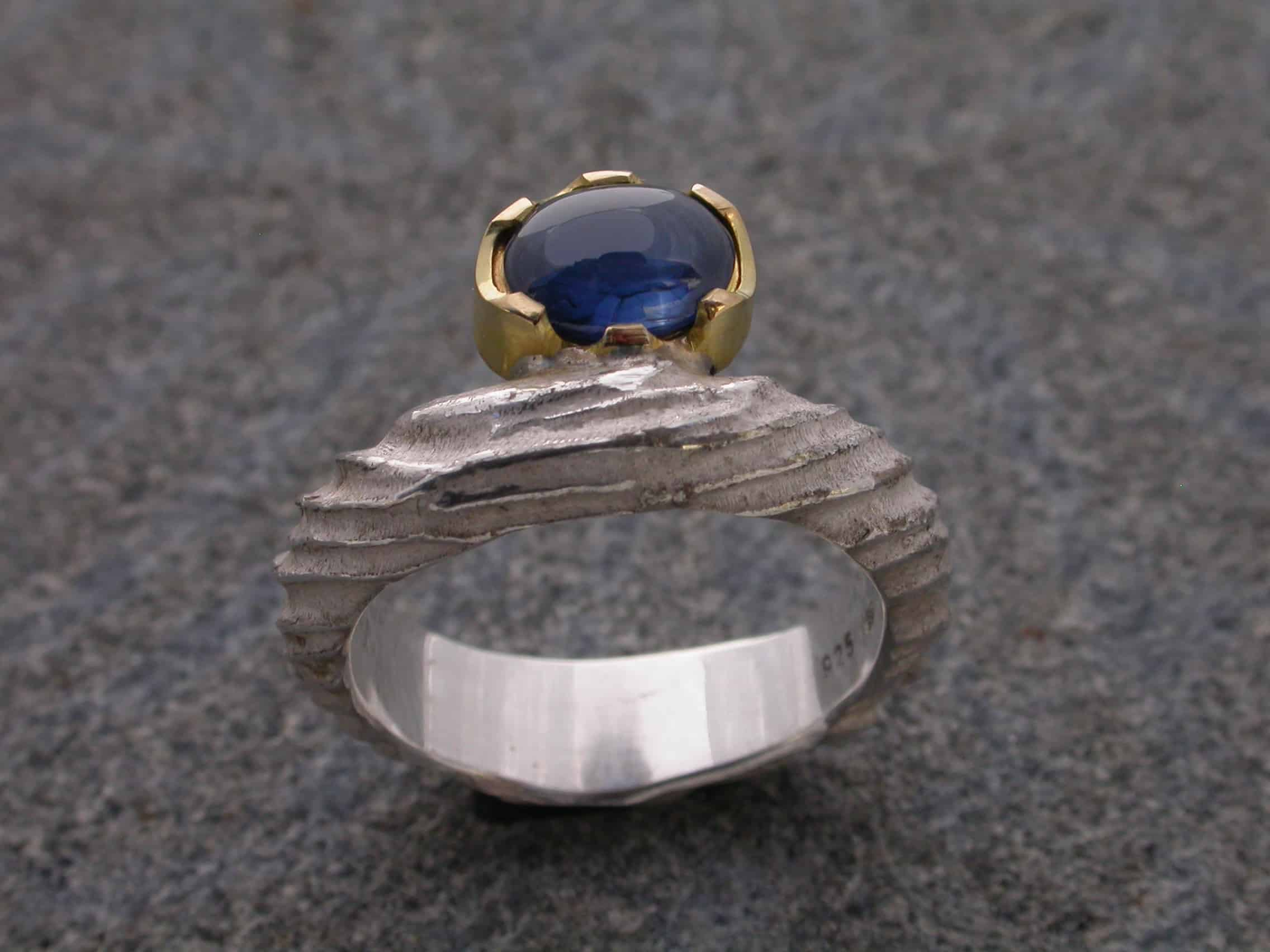 Unique ring, sapphire, sterling silver, 18ct gold