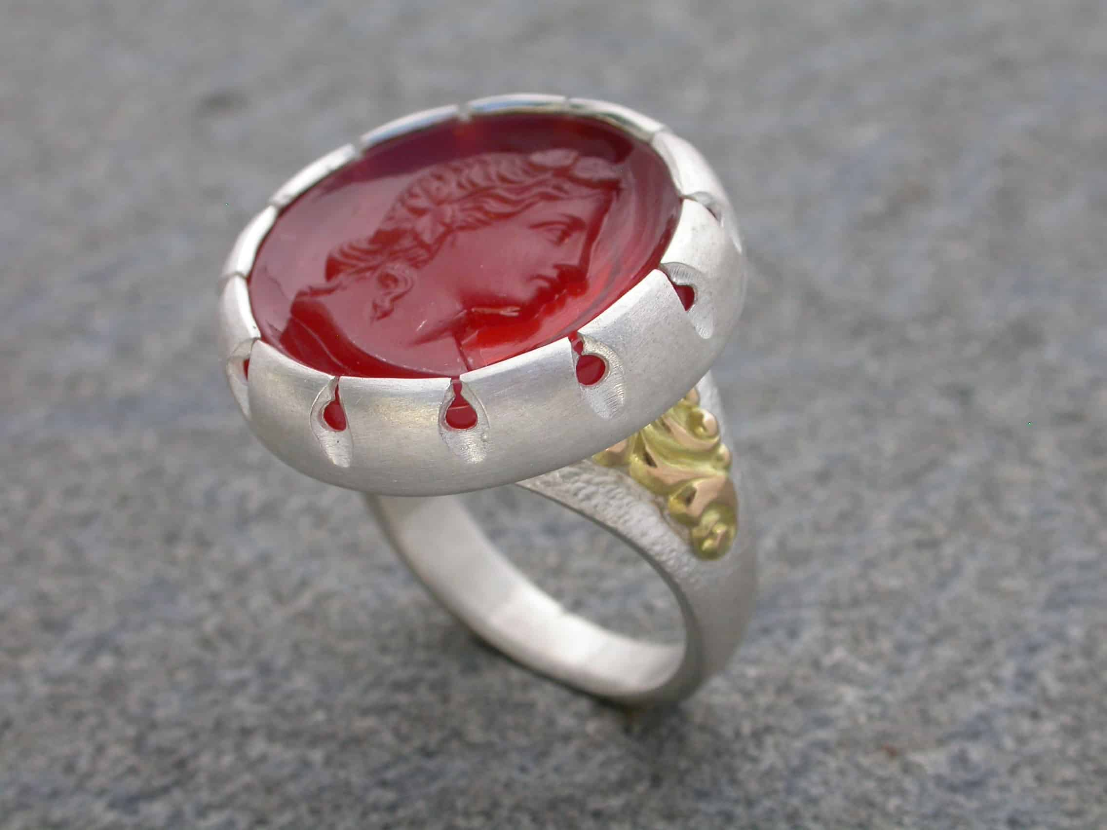 Unique ring, sterling silver, 18ct gold, glass