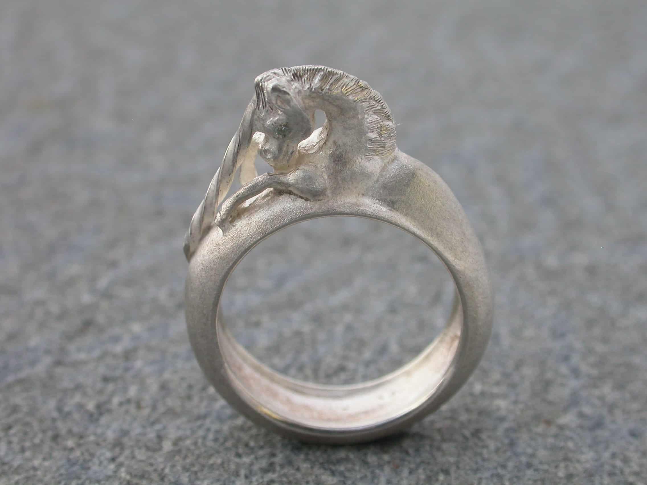 Unique ring unicorn, sterling silver, diamonds